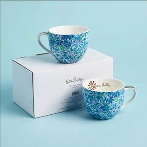 Lilly Pulitzer Ceramic Mugs Set of 2 Blue Floral
